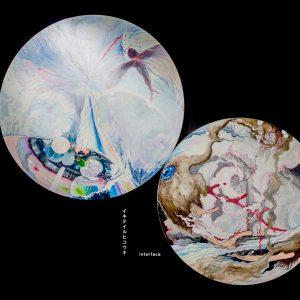 左:イキテイルヒコウキ 2016/綿布、油彩/φ:220cm 右:interface 2016 /綿布、油彩/φ:190cm
